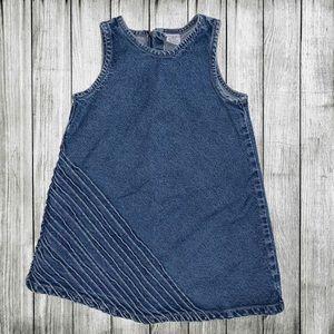 Baby Gap Blue Jean Jumper Dress w pastel stripes